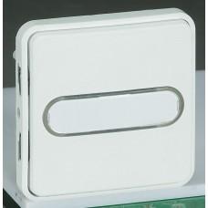 Legrand Plexo Arctic Антибактериальный Мех Выключатель 1-клавишный кнопочный с подсветкой и с держ. этикетки 70733