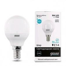 Лампа Gauss LED Elementary Шар 8W E14 540lm 4100K 1/10/100 53128