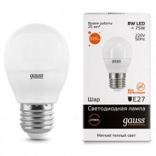 Лампа Gauss LED Elementary Шар 8W E27 520lm 3000K 1/10/100 53218