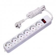 Сетевой фильтр 6*1,8м 10А/2,2кВт с выкл. c/з ПВС 3х0,75 Блокбастер EKF PROxima UFP10-375-6-018