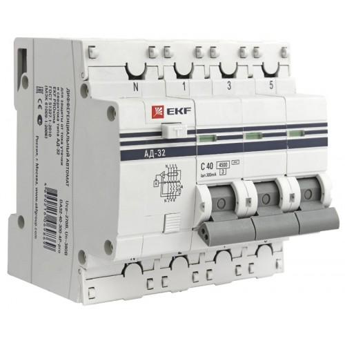 Дифференциальный автомат АД-32 3P+N 16А/30мА (тип А) EKF PROxima DA32-16-30-4P-a-pro