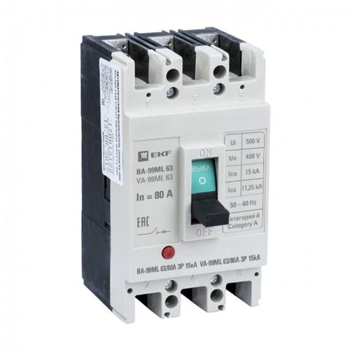 Автоматический выключатель ВА-99МL 63/80А 3P 15кА EKF mccb99-63-80mI