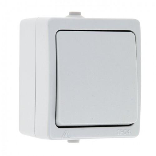 Венеция Выключатель 1 -клавишный 10А IP54 белый EKF EVV10-021-10-54
