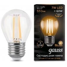 Лампа Gauss LED Filament Шар E27 7W 550lm 2700K 1/10/50 105802107