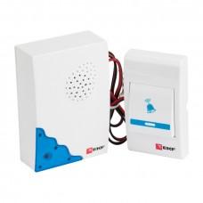 Звонок проводной на батарейках (бел.-голуб. 36 мелод. шнур 1.2м. с индик. 2х1,5В АА) EKF Basic DBW-001