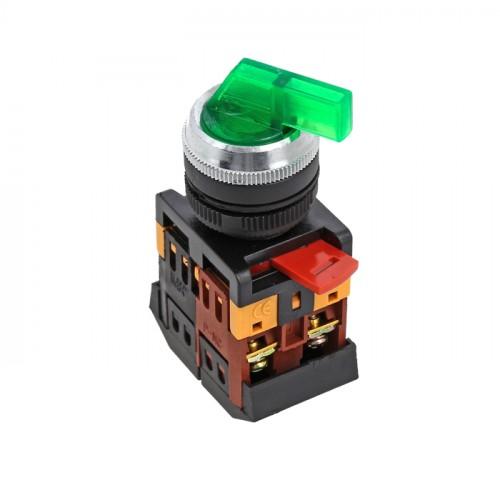 Переключатель ANLC-22 2P зеленый с подсветкой 220В NO+NC EKF PROxima psw-anlc-2p-g-220