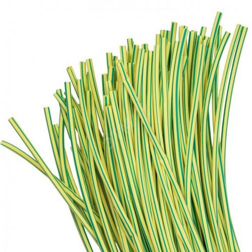 Термоусаживаемая трубка ТУТ  4/2 желто-зеленая в отрезках по 1м EKF PROxima tut-4-yg-1m