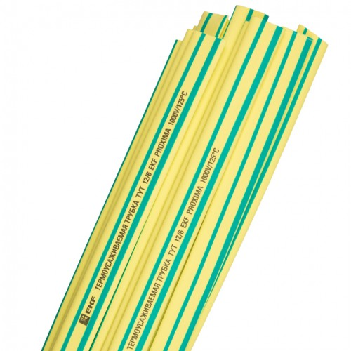 Термоусаживаемая трубка ТУТ 12/6 желто-зеленая в отрезках по 1м EKF PROxima tut-12-yg-1m