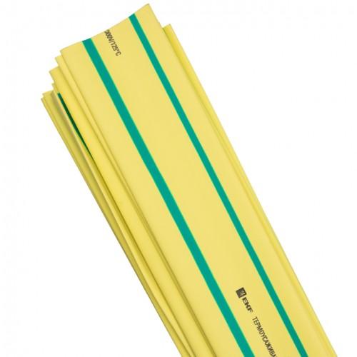 Термоусаживаемая трубка ТУТ 30/15 желто-зеленая в отрезках по 1м EKF PROxima tut-30-yg-1m