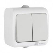 Мурманск Выключатель 2-клавишный 10А IP54 серый EKF EFV10-023-30-54