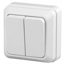 2-104-01 Intro Выключатель двойной, 10А-250В, IP20, ОУ, Quadro, белый Б0027640