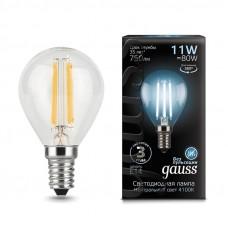 Лампа Gauss LED Filament Шар E14 11W 750lm 4100K 1/10/50 105801211