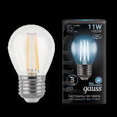 Лампа Gauss LED Filament Шар E27 11W 750lm 4100K 1/10/50 105802211