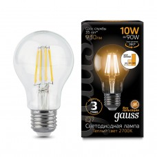 Лампа Gauss LED Filament A60 E27 10W 930lm 2700К step dimmable 1/10/40 102802110-S
