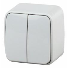 3-104-01 Intro Выключатель двойной, 10А-250В, IP20, ОУ, Polo, белый Б0036095
