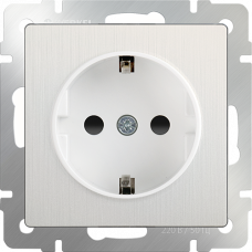Розетка с заземлением и шторками (перламутровый рифленый)/WL13-SKGS-01-IP44 a040883