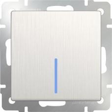 Выключатель одноклавишный с подсветкой(перламутровый рифленый)/WL13-SW-1G-LED a051177