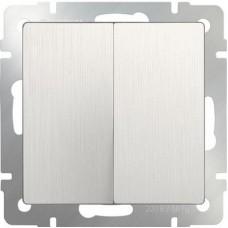 Выключатель двухклавишный проходной (перламутровый рифленый)/WL13-SW-2G-2W a051185