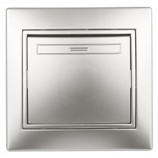 1-101-03 Intro Выключатель, 10А-250В, IP20, СУ, Plano, алюминий Б0030030