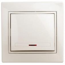1-102-02 Intro Выключатель с подсветкой, 10А-250В, IP20, СУ, Plano, сл.кость Б0027598
