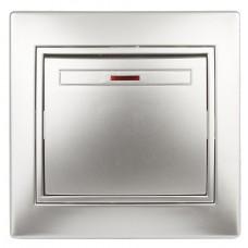 1-102-03 Intro Выключатель с подсветкой, 10А-250В, IP20, СУ, Plano, алюминий Б0030034