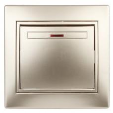 1-102-04 Intro Выключатель с подсветкой, 10А-250В, IP20, СУ, Plano, шампань Б0030035