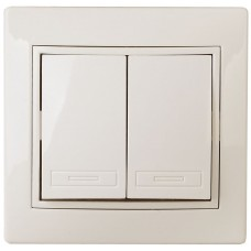 1-104-02 Intro Выключатель двойной, 10А-250В, IP20, СУ, Plano, сл.кость Б0027602