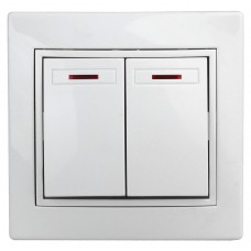 1-105-01 Intro Выключатель двойной с подсветкой, 10А-250В, IP20, СУ, Plano, белый Б0027603