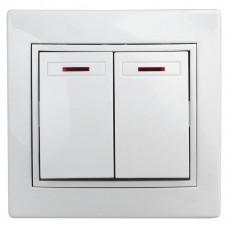 1-105-02 Intro Выключатель двойной с подсветкой, 10А-250В, IP20, СУ, Plano, сл.кость Б0027604