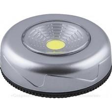 FN1204 1LED 2W Светодиодный светильник-кнопка  (1шт в блистере) 120Lm, 69*25мм, серебро 23374