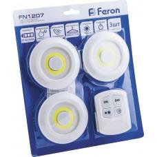 FN1207 1LED 3W Светодиодный светильник-кнопка (3шт в блистере+пульт) 180Lm, 90*22мм, белый 23378