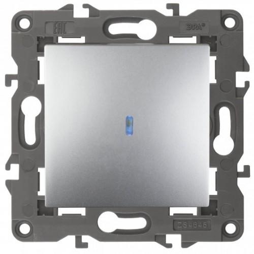 14-1102-03 ЭРА Выключатель с подсветкой, 10АХ-250В, IP20, Эра Elegance, алюминий Б0034217