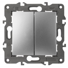 14-1104-03 ЭРА Выключатель двойной, 10АХ-250В, IP20, Эра Elegance, алюминий Б0034232