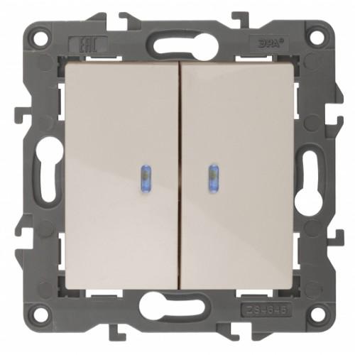14-1105-02 ЭРА Выключатель двойной с подсветкой, 10АХ-250В, IP20, Эра Elegance, сл.кость Б0034238