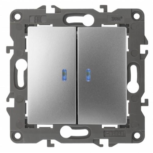 14-1105-03 ЭРА Выключатель двойной с подсветкой, 10АХ-250В, IP20, Эра Elegance, алюминий Б0034239