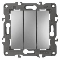 14-1107-03 ЭРА Выключатель тройной, 10АХ-250В, IP20, Эра Elegance, алюминий Б0034252