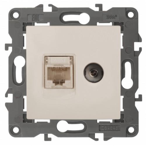 14-3110-02 ЭРА Розетка RJ45+TV, IP20, сл.кость Б0034315