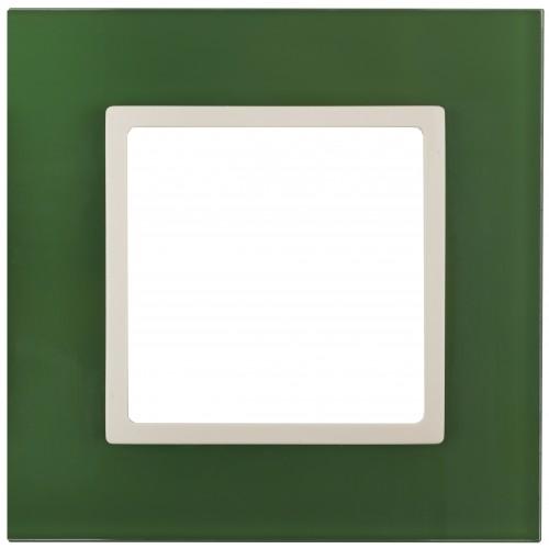 14-5101-27 ЭРА Рамка на 1 пост, стекло, Эра Elegance, зелёный+сл.кость Б0034481