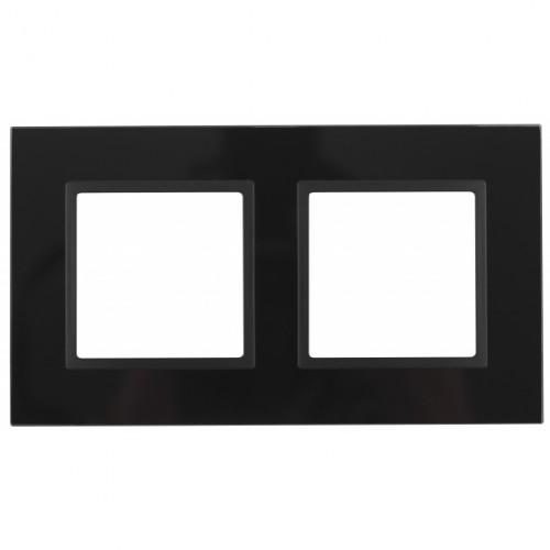 14-5102-05 ЭРА Рамка на 2 поста, стекло, Эра Elegance, чёрный+антр Б0034492