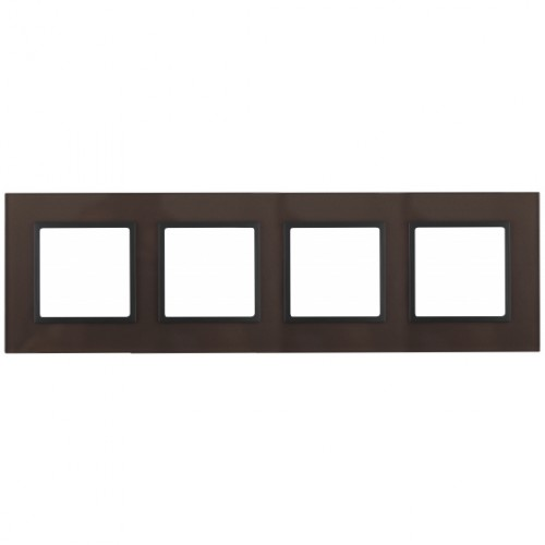 14-5104-13 ЭРА Рамка на 4 поста, стекло, Эра Elegance, бронза+антр Б0034529