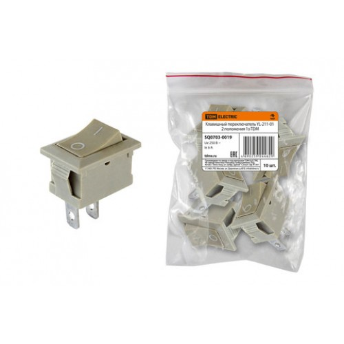Клавишный переключатель YL-211-01 серый 2 положения 1з TDM SQ0703-0019