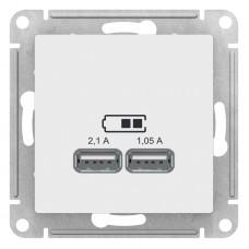 AtlasDesign Бел Розетка USB, 5В, 1 порт x 2,1 А, 2 порта х 1,05 А, механизм ATN000133