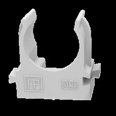 Крепеж-клипса для труб для монтажного пистолета серая в п/э д20 (100шт/900шт уп/кор) PR13.0120