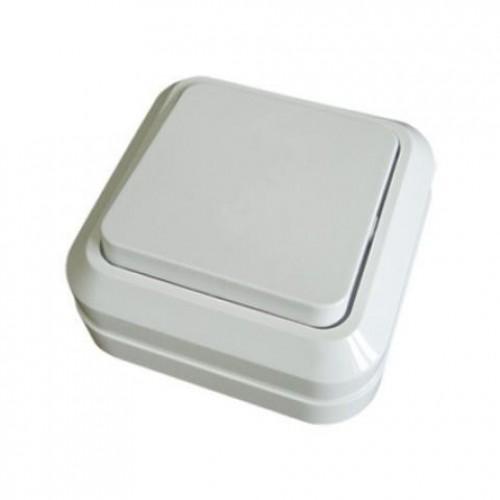 Выключатель 1-кл. открытой установки IP20 10А, белый