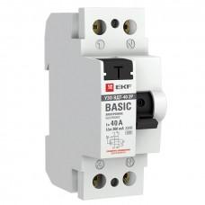 Устройство защитного отключения УЗО ВД-40 2P 40А/300мА (электронное) EKF Basic elcb-2-40-300e-sim