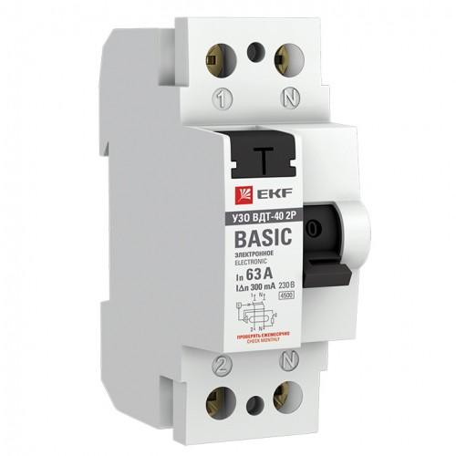 Устройство защитного отключения УЗО ВД-40 2P 63А/300мА (электронное) EKF Basic elcb-2-63-300e-sim