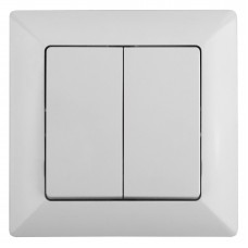 4-104-01 Intro Выключатель двойной, 10А-250В, СУ, Solo, белый (10/200/2400) Б0043284