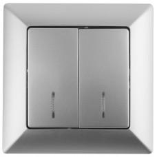 4-105-03 Intro Выключатель двойной с подсветкой, 10А-250В, СУ, Solo, алюминий (10/200/2000) Б0043293