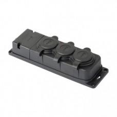 Роз. трехмест. с защит. крышками каучуковая 230В 2P+PE 16A IP44 EKF PRO RPS-015-16-230-44-r