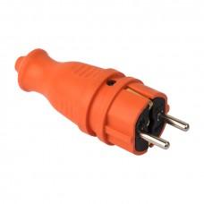 Вилка оранжевая каучуковая прямая 230В 2P+PE 16A IP44 EKF PRO RPS-011-16-230-44-ro